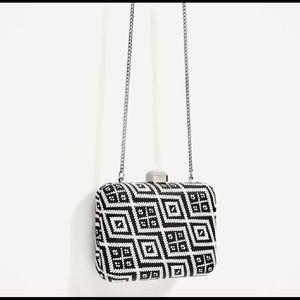 Zara Geometric Black and White Minaudiere